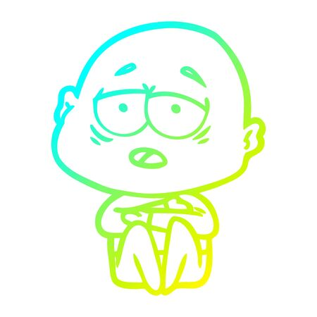 cold gradient line drawing of a cartoon tired bald man 版權商用圖片 - 130144283