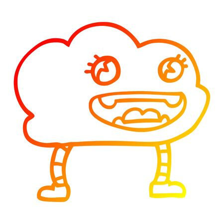 warm gradient line drawing of a cartoon expressive weather cloud