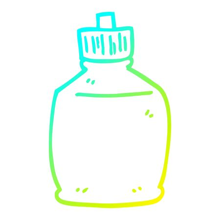 cold gradient line drawing of a cartoon squirt bottle