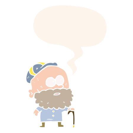 old cartoon man with walking stick and flat cap with speech bubble in retro style