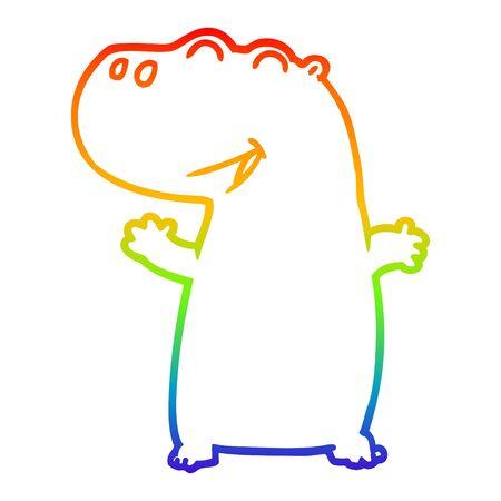 rainbow gradient line drawing of a cartoon hippopotamus Banque d'images - 130140406
