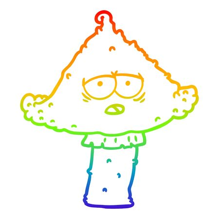 rainbow gradient line drawing of a cartoon mushroom with face 向量圖像