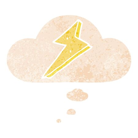 cartoon lightning with thought bubble in grunge distressed retro textured style Illusztráció