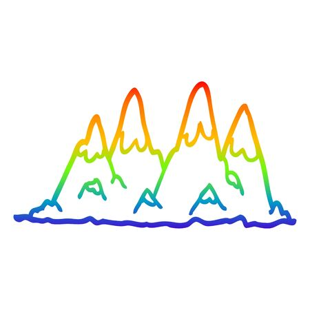 rainbow gradient line drawing of a cartoon mountain range