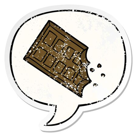 cartoon bar of chocolate with speech bubble distressed distressed old sticker