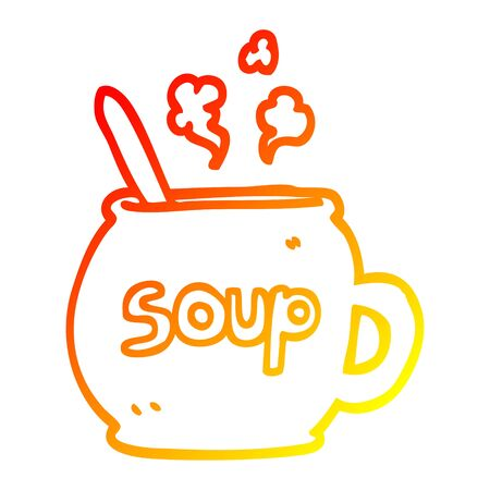 warm gradient line drawing of a cartoon cup of soup