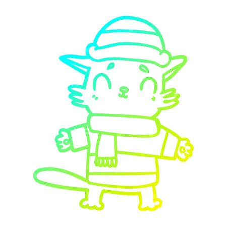 cold gradient line drawing of a cartoon cat in winter clothes