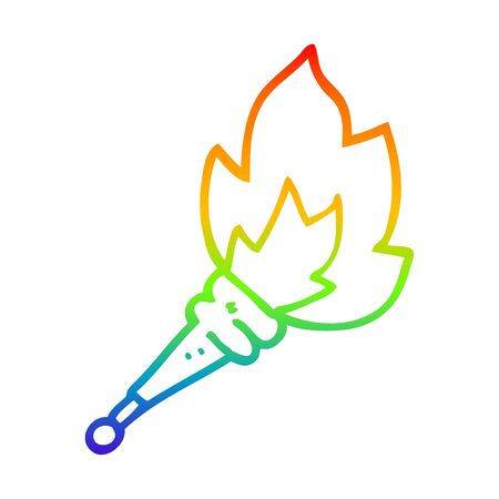 rainbow gradient line drawing of a cartoon flaming torch