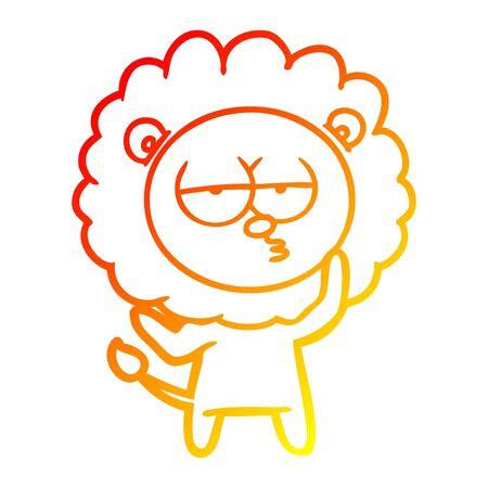 warm gradient line drawing of a cartoon tired lion 版權商用圖片 - 130140506