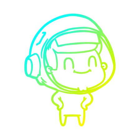cold gradient line drawing of a happy cartoon astronaut man