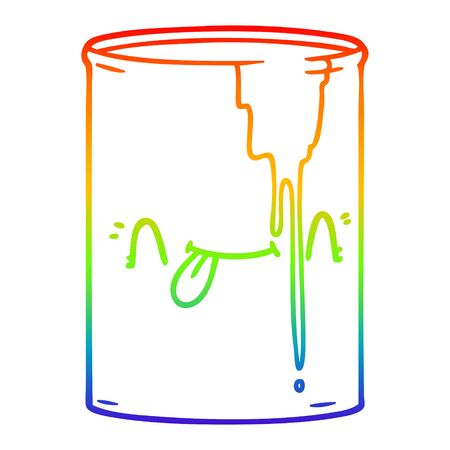 rainbow gradient line drawing of a cartoon toxic waste