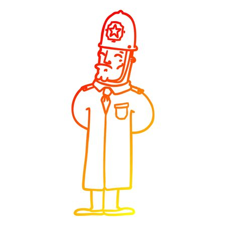 warm gradient line drawing of a cartoon policeman