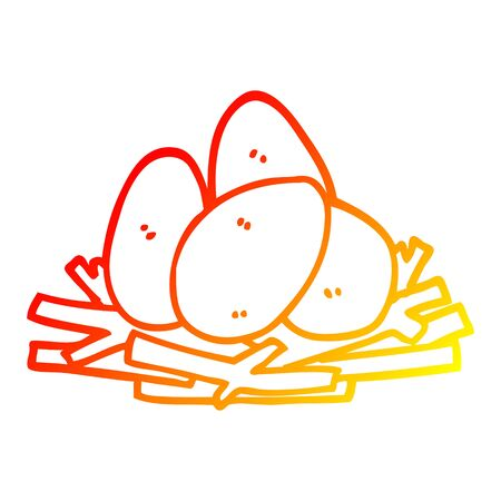 warm gradient line drawing of a cartoon eggs in nest