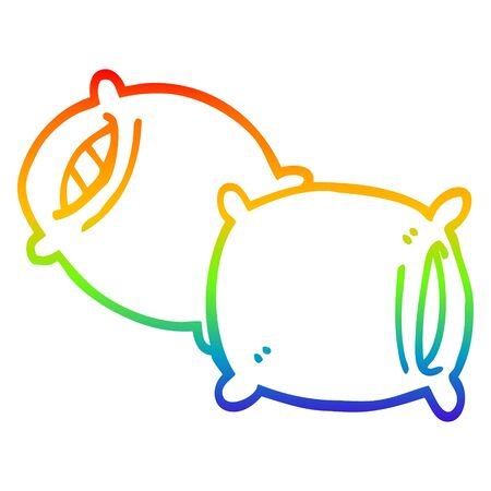 rainbow gradient line drawing of a cartoon pillow