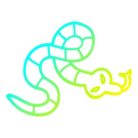 cold gradient line drawing of a cartoon poisonous snake Stock Illustratie