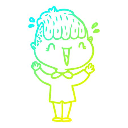 cold gradient line drawing of a cartoon happy boy surprised  イラスト・ベクター素材