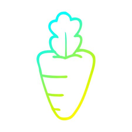 cold gradient line drawing of a cartoon healthy carrot
