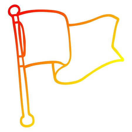 warm gradient line drawing of a cartoon white flag waving