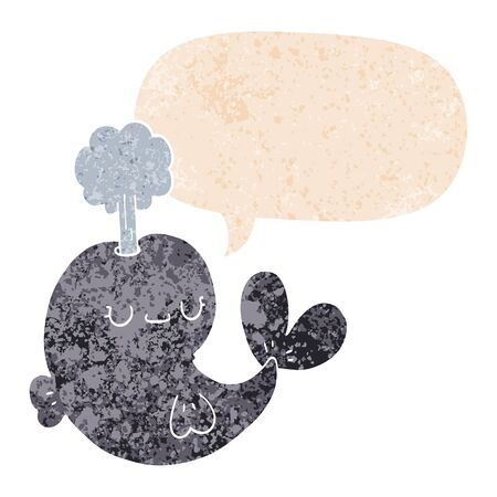 cute cartoon whale with speech bubble in grunge distressed retro textured style