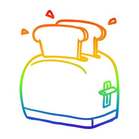 rainbow gradient line drawing of a toaster toasting bread Illustration