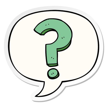 cartoon question mark with speech bubble sticker