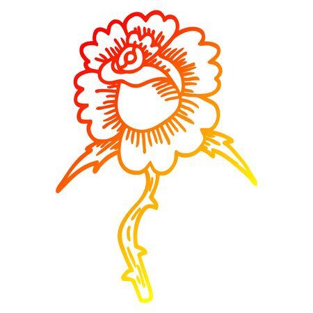 warm gradient line drawing of a cartoon rose tattoo symbol