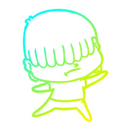 cold gradient line drawing of a cartoon boy with untidy hair