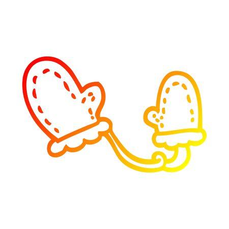 warm gradient line drawing of a cartoon mittens Stock Illustratie