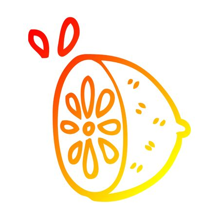 warm gradient line drawing of a cartoon lime fruit
