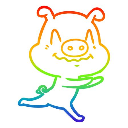 rainbow gradient line drawing of a nervous cartoon pig running