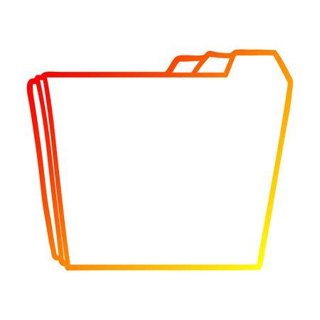warm gradient line drawing of a cartoon business folders