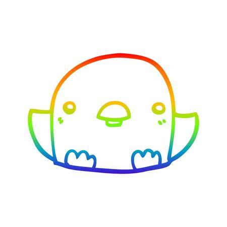 rainbow gradient line drawing of a cartoon chick Stock Illustratie