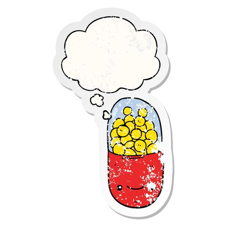 cartoon pill with thought bubble as a distressed worn sticker Ilustracja