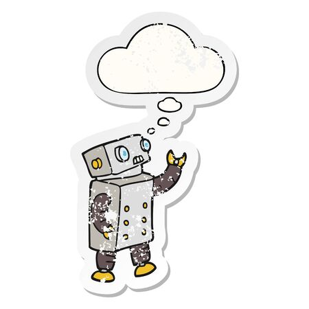 cartoon robot with thought bubble as a distressed worn sticker