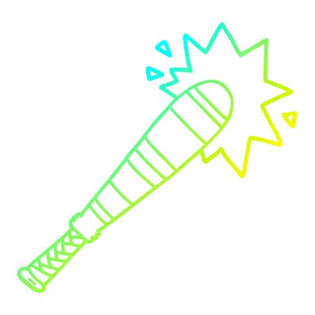 cold gradient line drawing of a cartoon baseball bat hitting