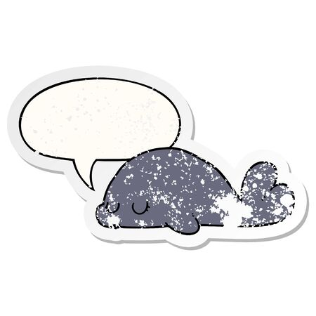 cute cartoon seal with speech bubble distressed distressed old sticker Ilustracja