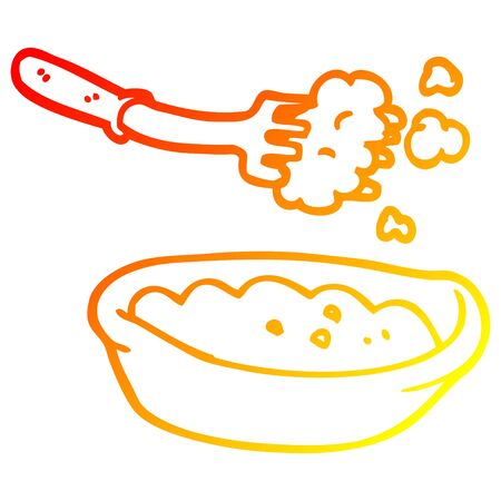 warm gradient line drawing of a cartoon bowl of food