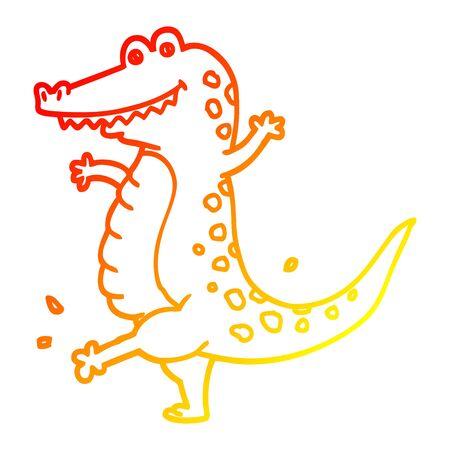 warm gradient line drawing of a cartoon dancing crocodile
