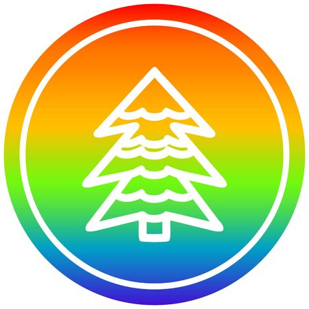 snowy tree circular icon with rainbow gradient finish 向量圖像
