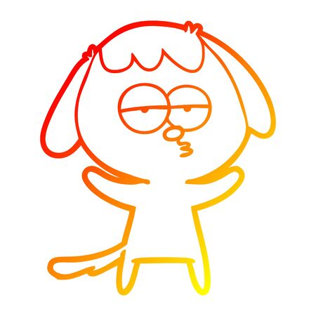 warm gradient line drawing of a cartoon bored dog