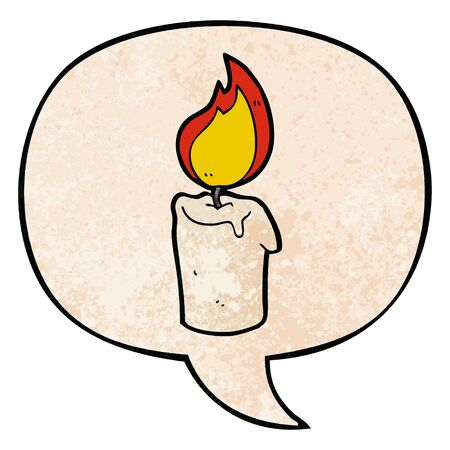 cartoon candle with speech bubble in retro texture style