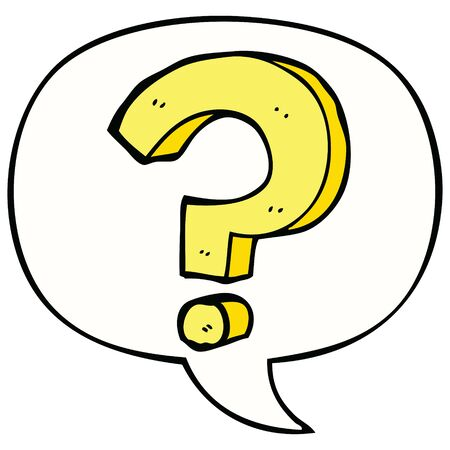 cartoon question mark with speech bubble