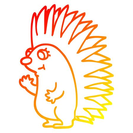 warm gradient line drawing of a cartoon spiky hedgehog Ilustração