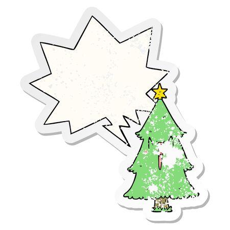 cartoon christmas tree with speech bubble distressed distressed old sticker Standard-Bild - 130141058