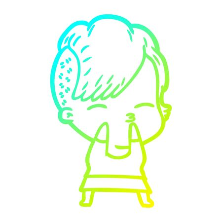 cold gradient line drawing of a cartoon squinting girl 일러스트