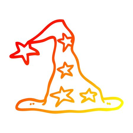 warm gradient line drawing of a cartoon wizard hat Illusztráció