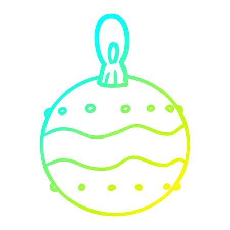 cold gradient line drawing of a christmas bauble decoration