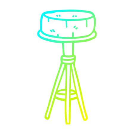 cold gradient line drawing of a cartoon breakfast stool