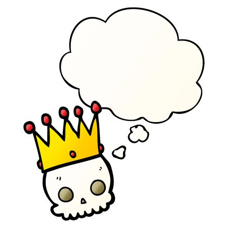 cartoon skull with crown with thought bubble in smooth gradient style Banco de Imagens - 130141157