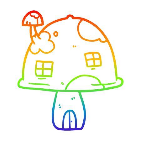 rainbow gradient line drawing of a fairy mushroom house
